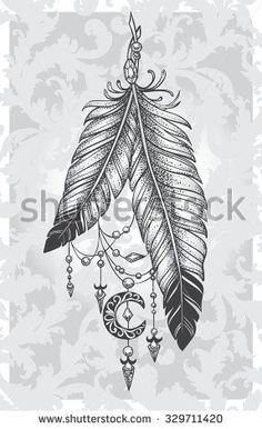 Tatto Ideas 2017  Two Feather Stock Vectors & Vector Clip Art