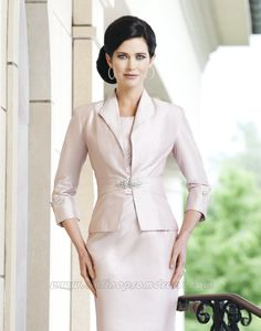 scoop neckline short mother of the bride pant suits