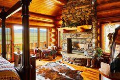 A dreamy, western master bath includes windows that frame the sprawling views.