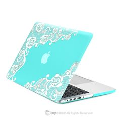 "TOP CASE - Retina 13-Inch Lace Hot Blue / Turquoise Rubberized Hard Case for MacBook Pro 13"" with Retina Display Model A1425 / A1502 - Lace Hot Blue / Turquoise"