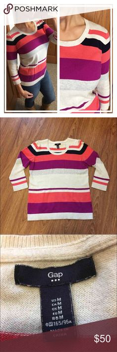 """Gap 3/4 sleeve striped cotton stretch top 📦Same day shipping (excluding Sun/holidays or orders placed after P.O. Closed) ❤️Save on shipping: Add all of your """"likes"""" to a bundle and submit an offer  Classic and easy! Material contents tag has been removed so I cannot list exact materials. Stripe colors: cream, coral, navy blue, purple and heather gray. Flat measurements: 18.5"""" across bust, 24.5"""" long. Normal wear from being washed/dried: good used condition from a smoke/pet free home. See…"""