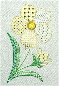 PR0031 Petal Power Pulled thread work and blackwork combined ceate this simple flower design. www.blackworkjourney.co.uk