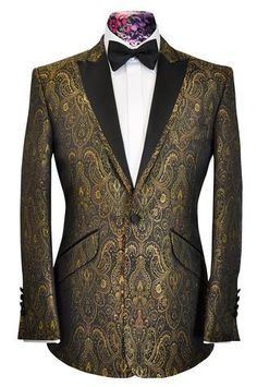 The Ashmore Gold Regency Brocade - William Hunt Savile Row - 1 Modern Mens Fashion, Mens Fashion Wear, Gold Tuxedo Jacket, Reception Suits, Made To Measure Suits, Dinner Outfits, Savile Row, Sharp Dressed Man, Dress Suits