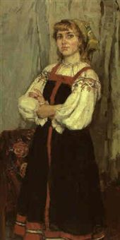Young woman in a Russian dress by Boris Beltyukov