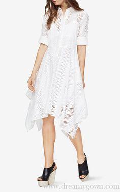 Button-Cuffed Sleeves Beatryce Eyelet BCBG Shirt Dress White Bcbg Dresses, Evening Dresses, White P, Cuff Sleeves, Shirtdress, Crisp, Short Sleeve Dresses, Black Gowns, Cocktails