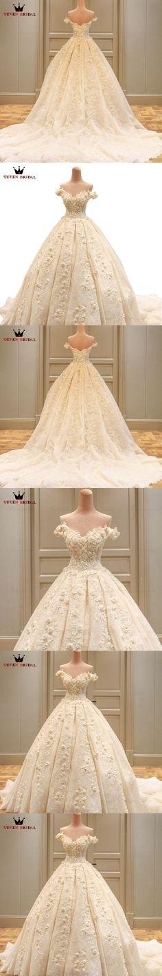 Vintage Wedding Dresses Ball Gown Cap Sleeve Lace Flowers Romantic Luxury Vestidos De Noiva Formal Bridal Gown Custom Made XJ52 #vintageweddings