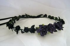 Black and purple crown rose circlet Gothic hair by BolshieAlice