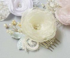 organza flower hair flower silk hair flower bridal by GingiBeads, $35.00