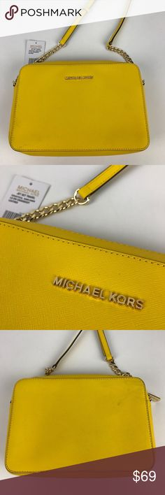 "Michael Kors Jet Set Large Leather Crossbody Authentic. New, with Tag. Has some marks on exterior. See photos. Priced accordingly  Get a fresh perspective on cool handbag decorum with this sophisticated yet street-chic crossbody. Fashioned in luxe Saffiano leather with gilded hardware, the adjustable strap offers custom-fit carrying. 9"" W x 6"" H x 2"" D. 25"" Adjustable strap. Style 32S4GTVC3L. RB595.  Thank you for your interest!   PLEASE - NO TRADES / NO LOW BALL OFFERS / NO OFFERS IN…"