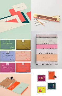 {1. Lotta Nieminen2. dachshund notepad3. Fogel hosiery 4. Jason Booher5. Strata Bakery 6.Lotta Nieminen stamps } Chloé Douglas is a Vancouver-based designer, who is not only madly in love with colour she also is an expert and I love her...