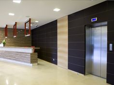 Modular Art With Receptionist Desk And Pendants And Logo