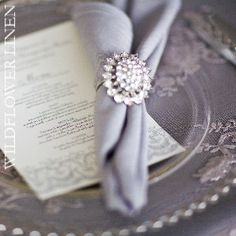 Blue napkins with antique diamond ring holder PHOTO GALLERY Wild Flower Linens