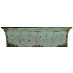 Turquoise Fleur-De-Lis Metal & Black Wood Shelf