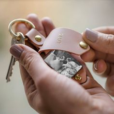 Personalised Metal Photo Keyring With Pink Leather Case by Create Gift Love, the perfect gift for Explore more unique gifts in our curated marketplace. Personalized Stockings, Personalized Gifts For Her, Leather Keyring, Leather Gifts, Pink Leather, Leather Case, Hessian Bags, Photo Keyrings, Classic Gold