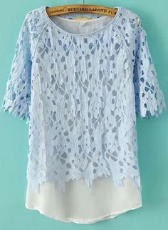 Blue Short Sleeve Hollow Floral Crochet Two Pieces Top pictures