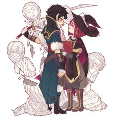 Lon'qu and Miriel - not a fan of the pairing, but I had to pin because of the statues (support reference). :D
