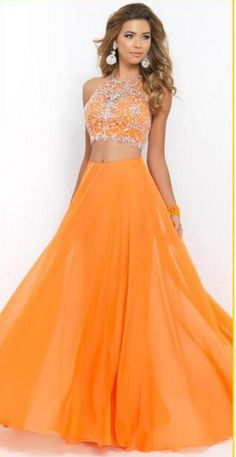 Sexy Halter Neck With Beading Crop Top Two Pieces Chiffon Evening Dresses Prom Dresses Party Dresses Women Fashion Dresses 2016 Homecoming Dresses, Blush Prom Dress, Long Prom Gowns, Chiffon Evening Dresses, A Line Prom Dresses, Party Dresses For Women, Prom Party Dresses, Evening Gowns, Models