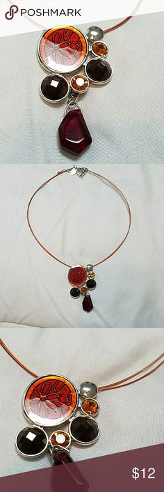 "16"" necklace with multi- stoned pendant Lia Sophia trendy necklace with thin copper strands Lia Sophia Jewelry Necklaces"