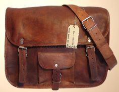 "Leather Messenger Bag 15""x11""x4"" $99.00 including shipping, via Etsy."