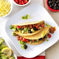 Mom's Sloppy Tacos Recipe -No matter how hectic the weeknight, there's always time to serve your family a healthy meal with recipes this easy and good! Mexican Dishes, Mexican Food Recipes, Dinner Recipes, Ethnic Recipes, Dinner Ideas, Beef Skillet Recipe, Skillet Recipes, Best Ground Beef Recipes, Cooking Recipes
