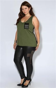 plus size black leather legging with cross cutout sides