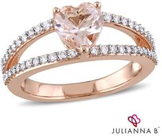 Julianna BTM 7.0mm Heart-Shaped Morganite and 1/4 CT. T.W. Diamond Split Shank Ring in 14K Rose Gold