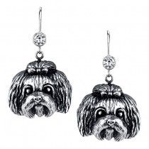 SHIH TZU EARRINGS #ER-20  | These earrings are available in all breeds! | Retail Price: $99.95 | 925 Sterling Silver | Each earring has a small bezel set CZ on top of the dog bead. Please note that these earrings can be special ordered in 10k, 14k or 18k gold. Hand-crafted in the USA, Available at ANDREW GALLAGHER JEWELERS, Newark, DE 302-368-3380. We Ship!