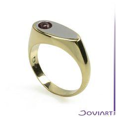 14krt gouden ring met staal en granaat