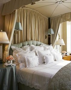 The late, legendary designer Albert Hadley and designer Harry Heissmann create a cozy master bedroom
