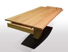 Baumtisch Kernbuche - Breite 100cm / Länge wählbar Unsere ausziehbaren Esstische sind zum einen hohwertig verarbeitet, als auchaus nur ausgesuchten Hölzern (A Qualität) hergestellt. Wir legen großen Wert auf die... Dining Table, Home, Shelving Brackets, Furniture, Round Dinning Table, Wood Slab, Moving Out, Oak Tree, Condominium