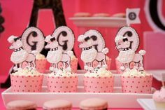 Kara's Party Ideas Poodle in Paris French Girl Pink 1st Birthday ...