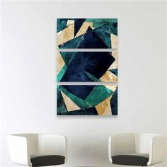 Abstracts Dos Triptych Canvas Art, 43x91x3cm