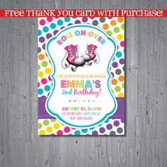 roller skate Birthday Invitation retro birthday by AbbyReeseDesign Birthday Music, 7th Birthday, Birthday Ideas, Happy Birthday, Roller Skating Party, Skate Party, Retro Birthday Parties, Free Thank You Cards, Son Luna