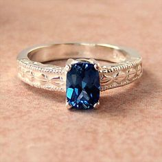 Lab Blue Sapphire Sterling Silver Ring by cavaliercreations, $76.00