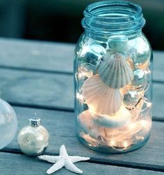 Jar full of Shells, Illuminated with Light