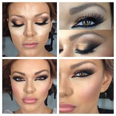 """Gold/black smokey + outer """"V"""" definition + reverse cat eye + contoured/highlighted face + rose/nude lip"""