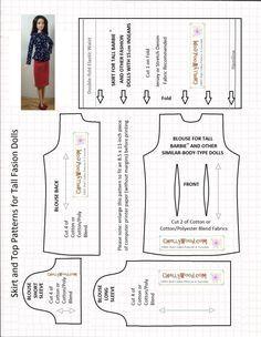 Imagem do padrão de costura para uma camisa (tanto com mangas compridas ou mangas curtas) e uma saia lápis.  Padrões são projetados para caber Alto Barbie da Mattel, e não há uma imagem dela usando uma saia lápis e parte superior de manga comprida.