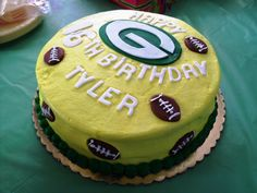 Green Bay Packers Birthday Cake designed by Patsy's Sweet Shoppe in West Allis, WI.