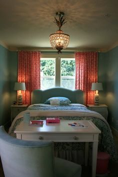 bed positioning, pop of colour/graphic curtains behind, desk at foot of bed with comfy chair.  Kids Photos Small Girls Shared Room Design, Pictures, Remodel, Decor and Ideas - page 19