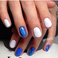 Ideas for short nails, Oval nails, Short blue nails, Short white nails…