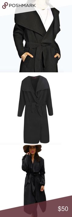 LAST ONE! Black Waterfall Jacket soft material • polyester wool blend • new boutique item • run slightly small, order up for a flowy loose fit • third picture is for styling•  item 🎀💕🛍 sabineforever.com for style, beauty and lifestyle inspo Jackets & Coats Trench Coats