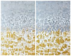 "JoJo Herda: A Glamorous Neutral Diptych acrylic on 2 30"" x 48"" panels entitled ""The Way You Make Me Feel"" #gold #silver #glam #artwork #artworkbyjojo #jojoherda #floor24designs #abstract art"