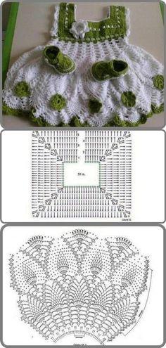 Luty Artes Crochet: Vestidos de bebê em Crochê + Gráficos. [] #<br/> # #Crochet,<br/> # #Clothes,<br/> # #Tric<br/>