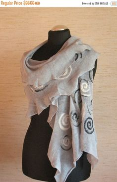 Linen Scarf Gray White Spiral Snail Felted Wool by Initasworks