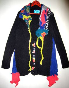 Black and bright Cardigan Sweater Coat fits XL 1X by monapaints
