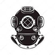 Download - Deep Sea. Old style diver helmet isolated on white background — Stock Illustration #118652640