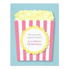 Movie Birthday Invitations Pop Over Popcorn Movie Night Pastel Birthday Party Card