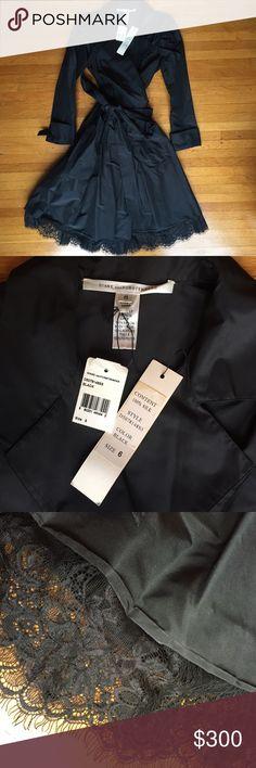 Diane Von Furstenberg Silk Wrap Dress Beautiful wrap dress with lace eyelash detailing at hem! Shell is 100% silk. Diane Vom Furstenberg size 6. New with Tags! Diane von Furstenberg Dresses
