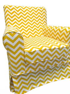 Yellow chevron slipcover for IKEA chair... I don't know where, but pretty sure I need this in my house.