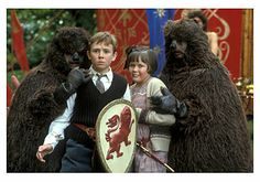 BBCTV 'The Lion, the Witch and the Wardrobe' - Mr.Beaver (Kerry Shale and Lesley Nicol) with Peter and Lucy (Richard Dempsey and Sophie Wilcox). Fantasy Films, Fantasy Series, Lion Witch Wardrobe Movie, Narnia Lion, Mr Tumnus, Science Fiction, Chronicles Of Narnia Books, Narnia Movies, Wild Book